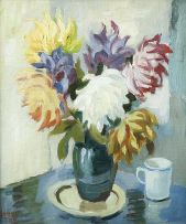 Gregoire Boonzaier; Still Life with Dahlias
