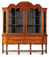 A Dutch marquetry display cabinet, 19th century
