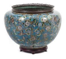 A Chinese cloisonné gilt-metal mounted jardinière, Qing Dynasty, late 19th century