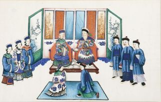 A set of twelve Chinese watercolour figural paintings, Qing Dynasty, 19th century