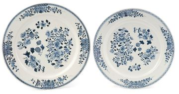 A near pair of Chinese blue and white dishes, Qing Dynasty, Qianlong (1735-1796)