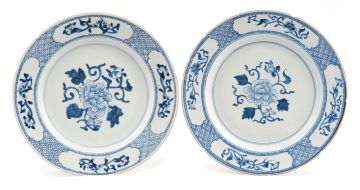 A pair of Chinese blue and white plates, Qing Dynasty, Qianlong (1735-1796)