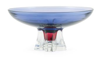 An Archimede Seguso pink and blue glass tazza, Murano, 1960s