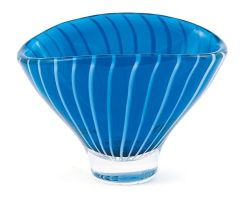 A Lindstrand-Kosta blue and white striped glass vase, designed by Vicke Lindstrand, circa 1955-56