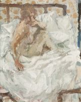 Bernard Dunstan; Nude Seated on Bed
