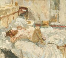 Bernard Dunstan; Nude Lying on Bed