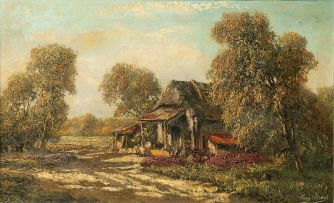 Tinus de Jongh; A Cottage in a Clearing