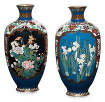 A pair of Japanese cloisonné vases, Meiji Period (1868-1912)