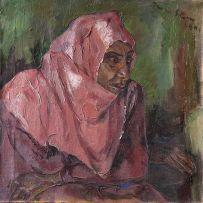 Irma Stern; Portrait of a Woman Wearing a Pink Hijab