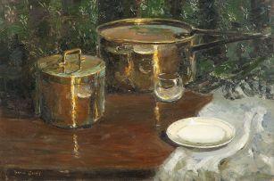 Adriaan Boshoff; Still Life with Copper Pots