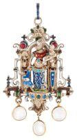 An enamel pendant in Renaissance Revival style, circa 1880