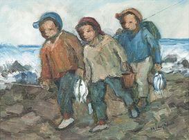 Amos Langdown; Three Boys with their Catch