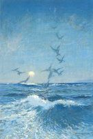 William Timlin; Seagulls at Dusk