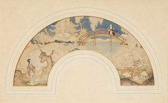 William Timlin; Three Fan-shaped watercolours