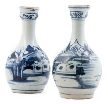 Two Chinese blue and white guglets, Qing Dynasty, late 18th/early 19th century