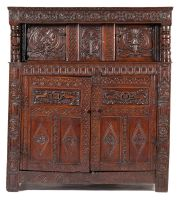 An English oak press cupboard, late 17th century