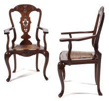 A pair of Dutch Colonial coromandel armchairs, 18th century