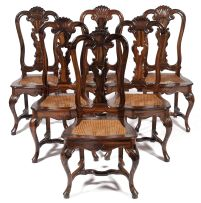 A set of six Dutch Colonial coromandel dining chairs, late 18th century