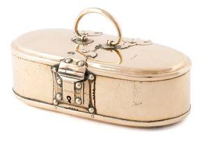 A Dutch East Indian brass betel nut box, circa 1820