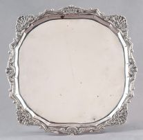 A Batavian silver commemorative salver (Gedachtenisblad), maker's initials SH, mid 18th century, with later Dutch foreign import tax marks for 1814-1953