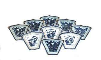 A set of six Chinese fan-shaped blue and white condiment dishes, 19th century