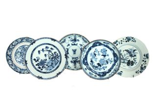 A miscellaneous group of Chinese blue and white porcelain, Qing Dynasty, 18th century