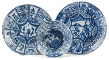Two 'Kraak-porcelein' blue and white dishes, 17th century
