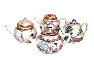 A Chinese Export miniature Famille-Rose teapot and cover, Qing Dynasty, 18th century