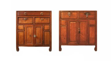 Two Chinese satinwood and teak cupboards