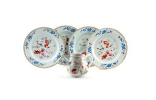 A set of four Chinese Famille-Rose plates, Qing Dynasty, 18th century