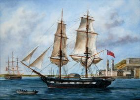 A miniature painting, Frigate off Lisbon, by Barbara Valentine, modern