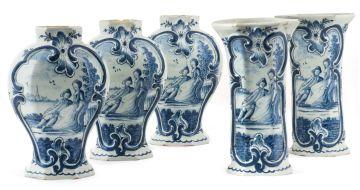 A Dutch Delft blue and white garniture set, 18th century
