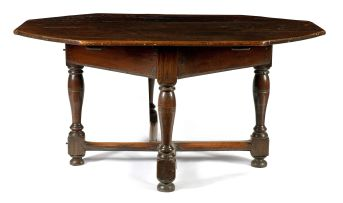 A Cape teak and pine octagonal gateleg table, late 17th century/early 18th century