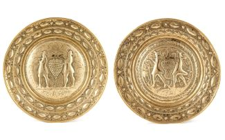 Two brass alms dishes, 18th century