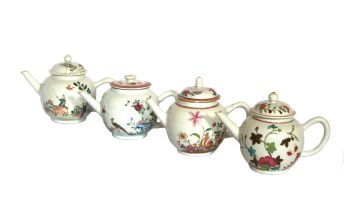 A miscellaneous group of four Chinese Famille-Rose teapots, Qing Dynasty, 18th century