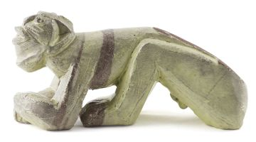 A Hylton Nel earthenware figure of a crouching man, signed and dated 13.07.05