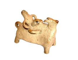 A Hylton Nel stoneware figure of a bull, signed