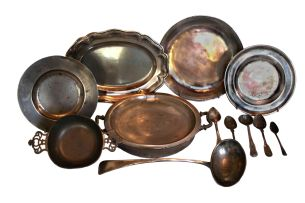 A pewter oval serving dish, London, 19th century