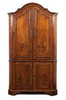 A Dutch walnut corner cupboard, late 18th/early 19th century