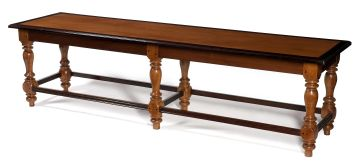 A pair of Colonial hardwood, satinwood and rosewood benches