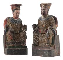 A pair of Chinese carved and painted wood ancestral figures, late 19th century