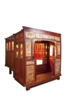 A Northern Chinese elm, painted and gilded wedding bed chamber and alcove, 19th century