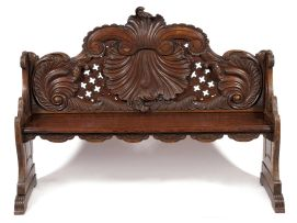 A Dutch oak canal house hall seat, early 19th century
