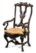 A Colonial hardwood armchair, 18th century