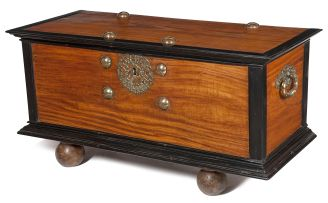 A Dutch Colonial satinwood and ebony brass-mounted kist, 18th century