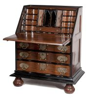 An Anglo Indian rosewood and ebony brass-mounted fall-front bureau, 19th century