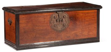 An Indian Colonial teak and rosewood ebonised kist, 19th century