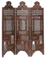 An Indian sandalwood and mother-of-pearl inlaid three-fold screen, late 19th century