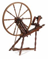 A beech, elm and fruitwood spinning wheel, late 19th/early 20th century
