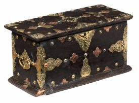A Colonial teak brass- and copper-mounted chest, late 18th/early 19th century